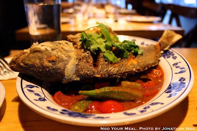 Whole Fried Porgy: Malaysian Curry, Okra, Eggplant, Tomatoes at Pig & Khao