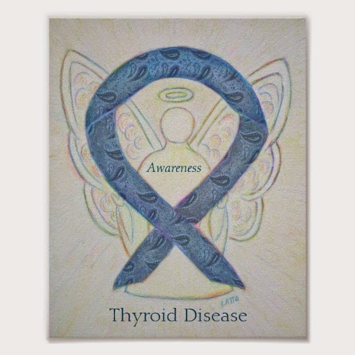 Thyroid Disease Awareness Paisley Ribbon Guardian Angel Painting Custom Art Prints or Posters