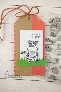 What's MOO ! a tag by Diane Morales | Farmyard Friends Stamp Set by Newton's Nook Designs