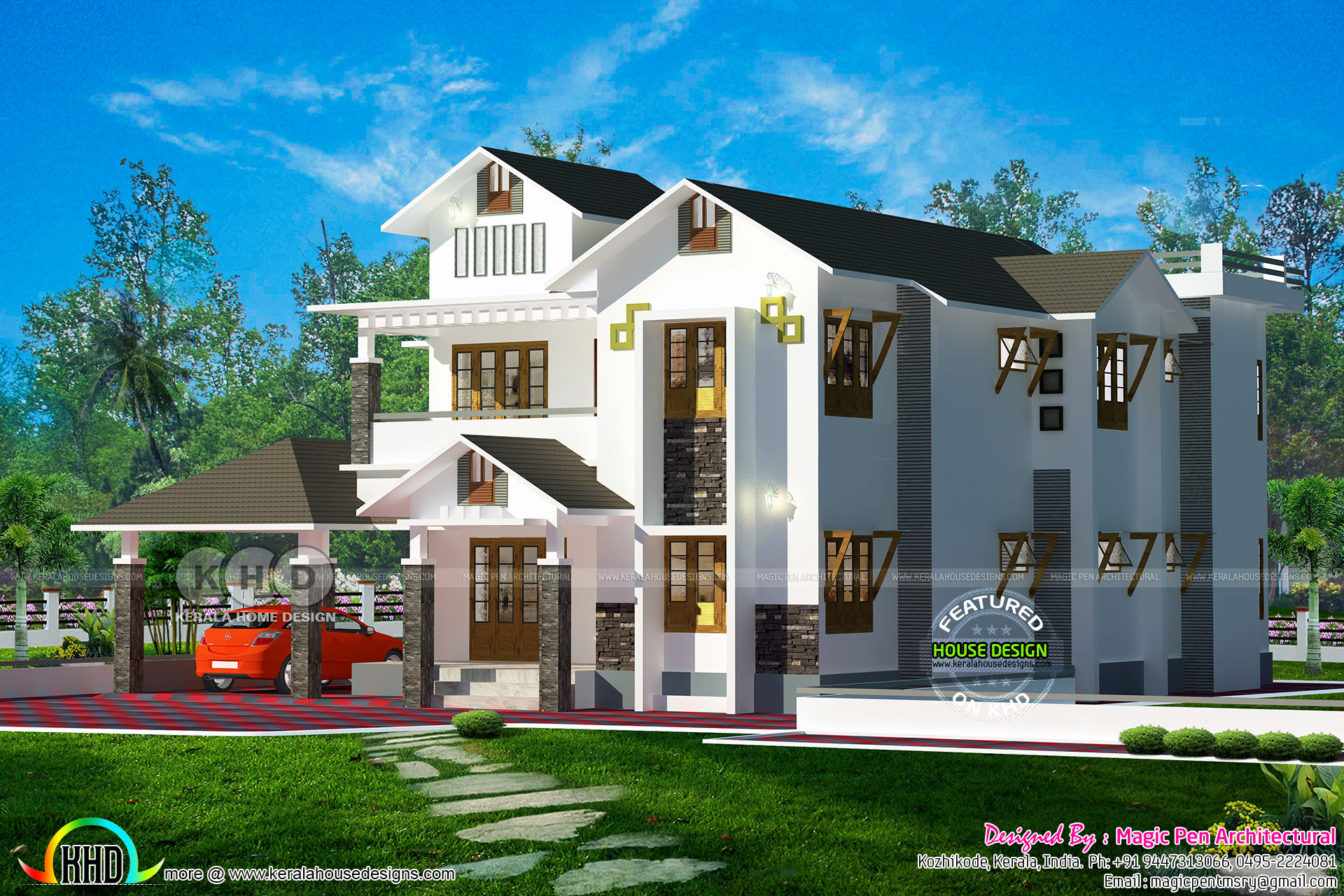 2700 Sq Ft Modern Sloping Roof Home Plan Kerala Home