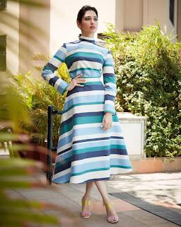 Tamannah Beautiful Pics In Blue Dress