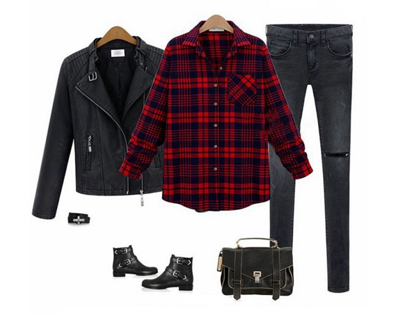 wardrobe essentials staples trendy plaid shirt leather jacket ripped jeans