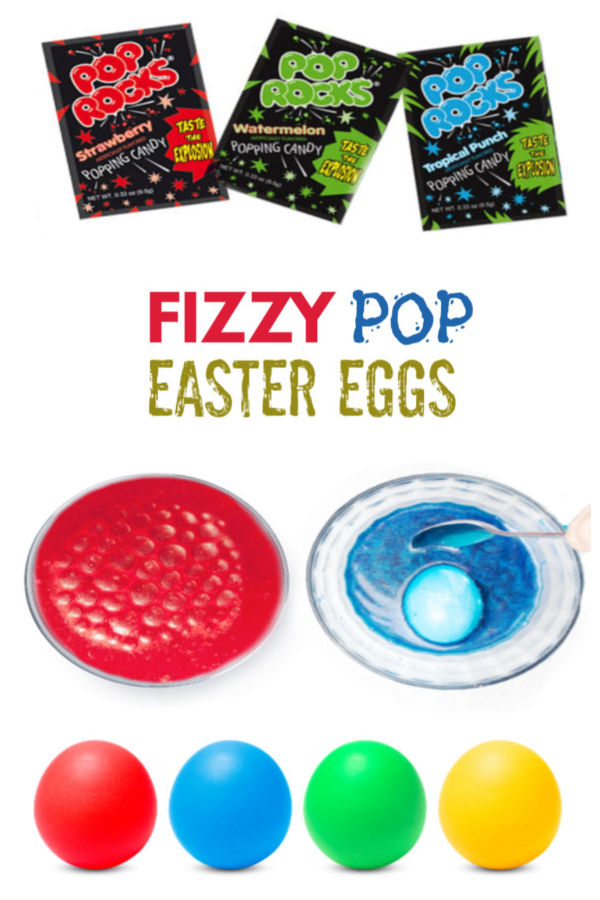 Make fizzing Easter eggs using food coloring and Pop Rocks!  My kids were in awe by this fizzy egg dye and wanted to decorate so many Easter eggs! #poprocks #fizzyeggs #fizzyeggdye #howtodyeeggs #fizzingeastereggs #fizzingeggs #fizzyeggexperiment #eggdecoratingideascreative #eggdye #eastereggdyeideas #easteractivitieskids