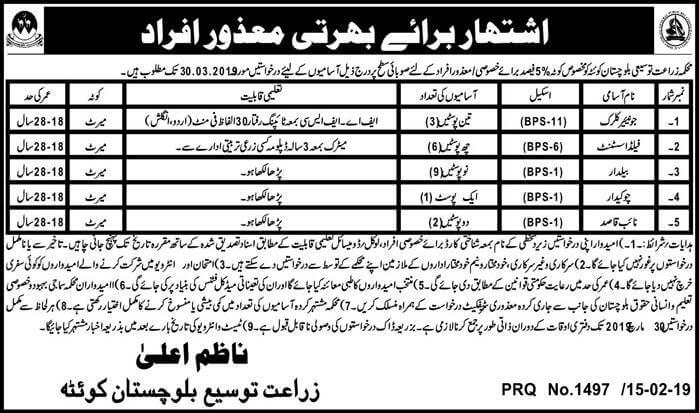 Jobs in Agriculture Department Govt of Balochistan 2019