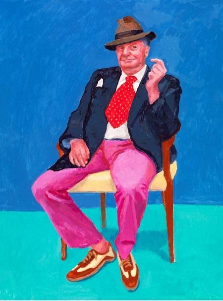 "David Hockney, ""Barry Humphries, 2015"" | obras de arte, pinturas, retratos, cuadros, portraits, pintores famosos"