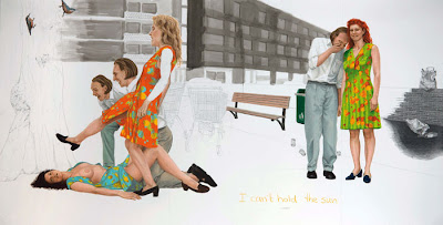 Jans Muskee I can't hold the sun, 2009 pencil, ink, oil pastel on paper 195 x 395 cm