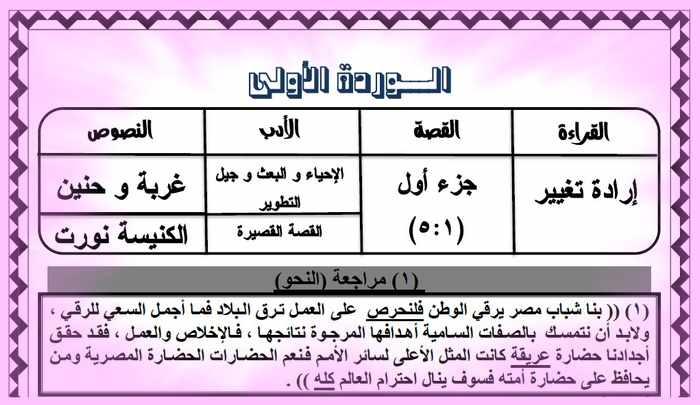 المراجعة الأولى لغة عربية ثانوية عامة 2019 من كتاب الضاد