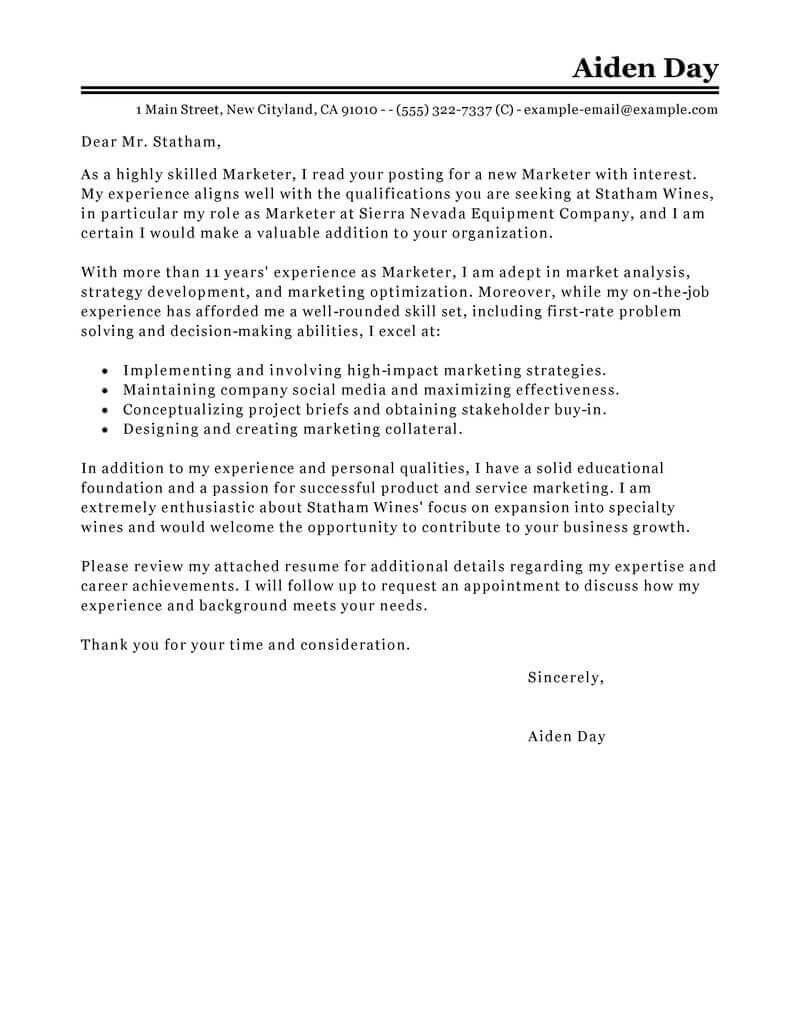 Contoh Surat Lamaran Kerja Marketing Dalam Bahasa Inggris