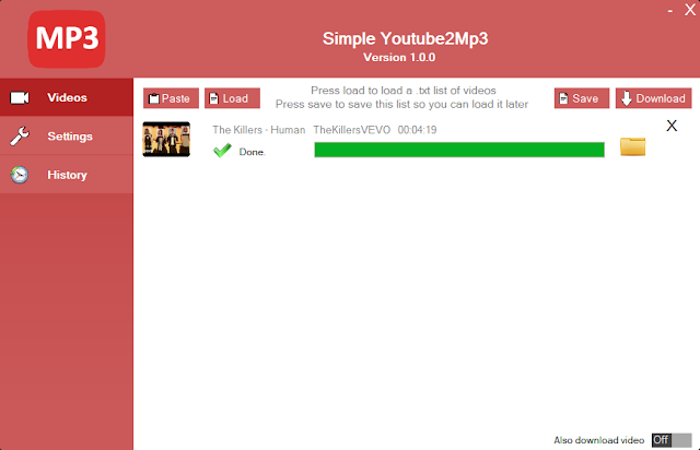 SimpleYoutube2Mp3 1.0.0 + Portable | Descargar el audio de videos de Youtube en MP3