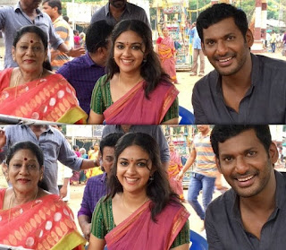 Keerthy Suresh with Vishal from Pandem Kodi 2 Shooting Spot