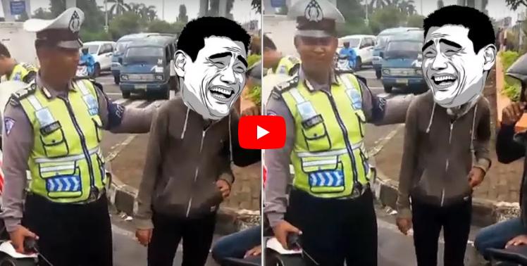 Kelakuan Anak Zaman Now! Pakai helm Nyeleneh, Polisi Tilang Sambil Ketawa Pemuda di Bogor ini