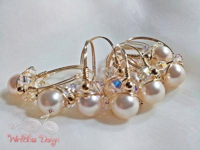 Wire wrapped Swarovski Pearl Ring