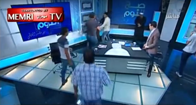Argument over religion boils down to exchange of blows on live TV