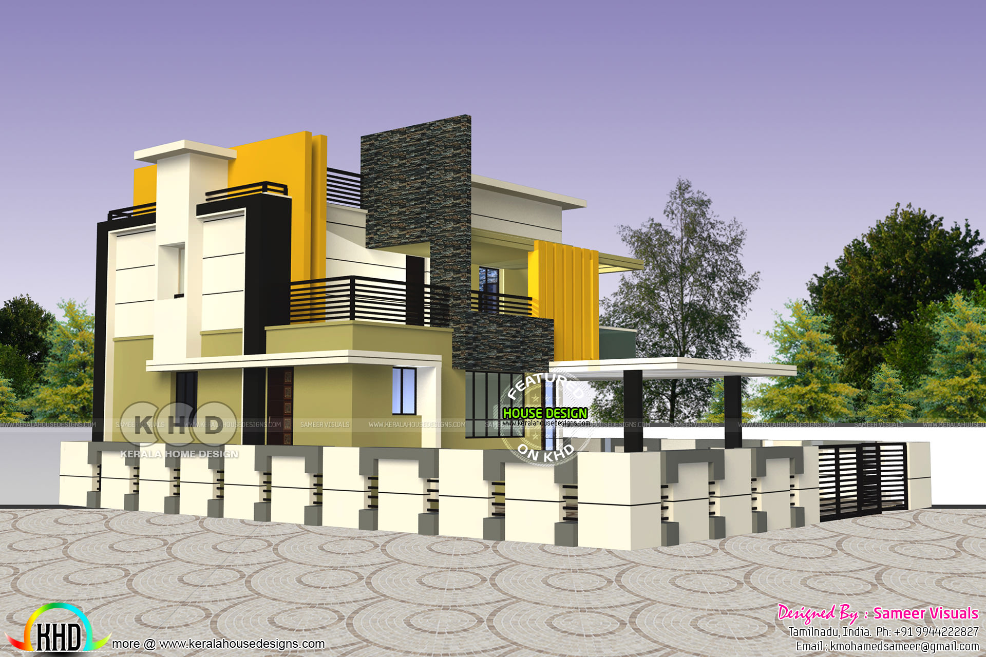 Charming Design Provided By Sameer Visuals, Tamilnadu, India. House Specification  Ground Floor Area : 1980 Sq Ft First Floor Area : 1500 Sq Ft