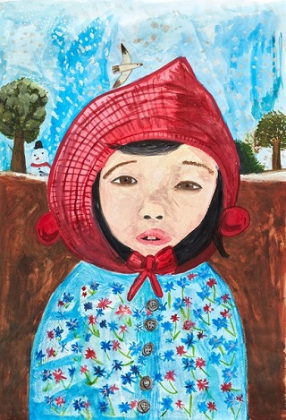 "Finalist Young Archie 2018 - ""My little sister Rachel"" by Esther Kim | creative emotional drawings, cool stuff, pictures, deep feelings, sad | obras de arte contemporaneo, cuadros, imagenes tristes bonitas chidas bellas"