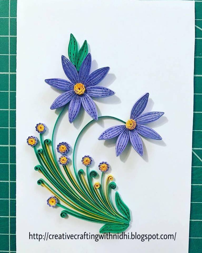 Being creative in the world of paper crafting 2017 the flowers leaves are crafted with 3mm paper strips using quilling comb mightylinksfo