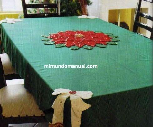 Mantel navide o en fieltro y lentejuela mimundomanual - Ideas para hacer manteles ...