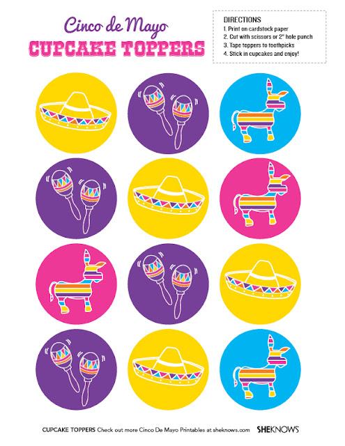 Toppers o Etiquetas para Fiesta del 5 de Mayo para imprimir gratis.