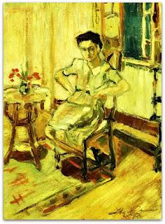 Iberê Camargo - Retrato de Maria Coussirat Camargo (1942) - óleo sobre tela