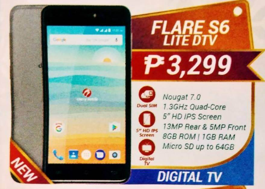 Cherry Mobile Flare S6 Lite DTV; Quad Core Android Nougat with Digital TV for Php3,299