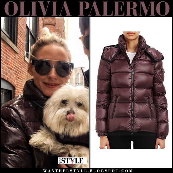 Olivia Palermo in burgundy quilted winter jacket moncler berre what she wore streetstyle