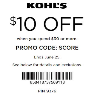 Kohl's coupon $10 OOFF $30 purchase