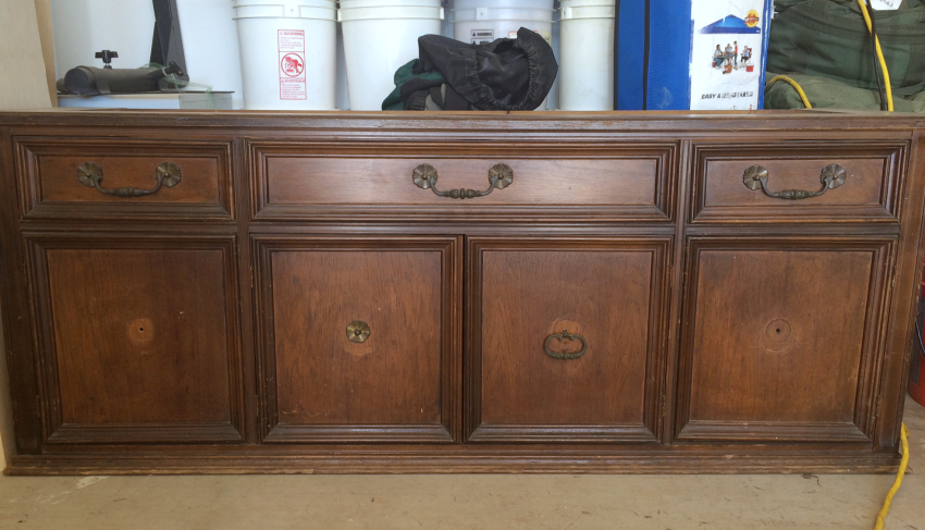 refinished buffet, refinished hutch, painted buffet, painted hutch, painted media console, converted china hutch, repurposed china hutch cabinet