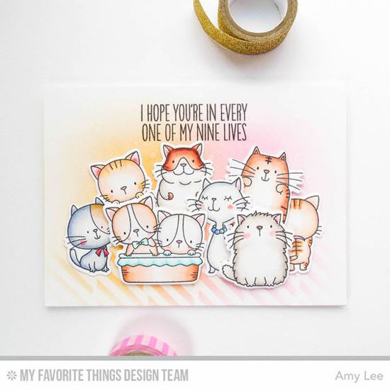 Nine Pretty Kitties Card by Amy Lee featuring Birdie Brown Cool Cat stamp set  and Die-namics #mftstamps
