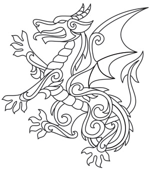 Coloring Page World Gilded Heraldry Dragon
