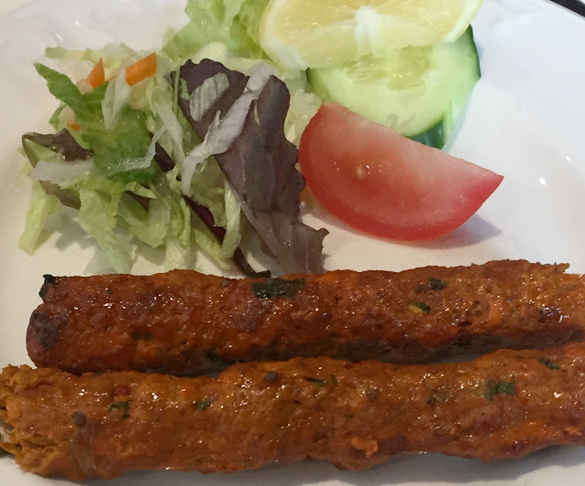 Sheek kebab starter at Le Raaj