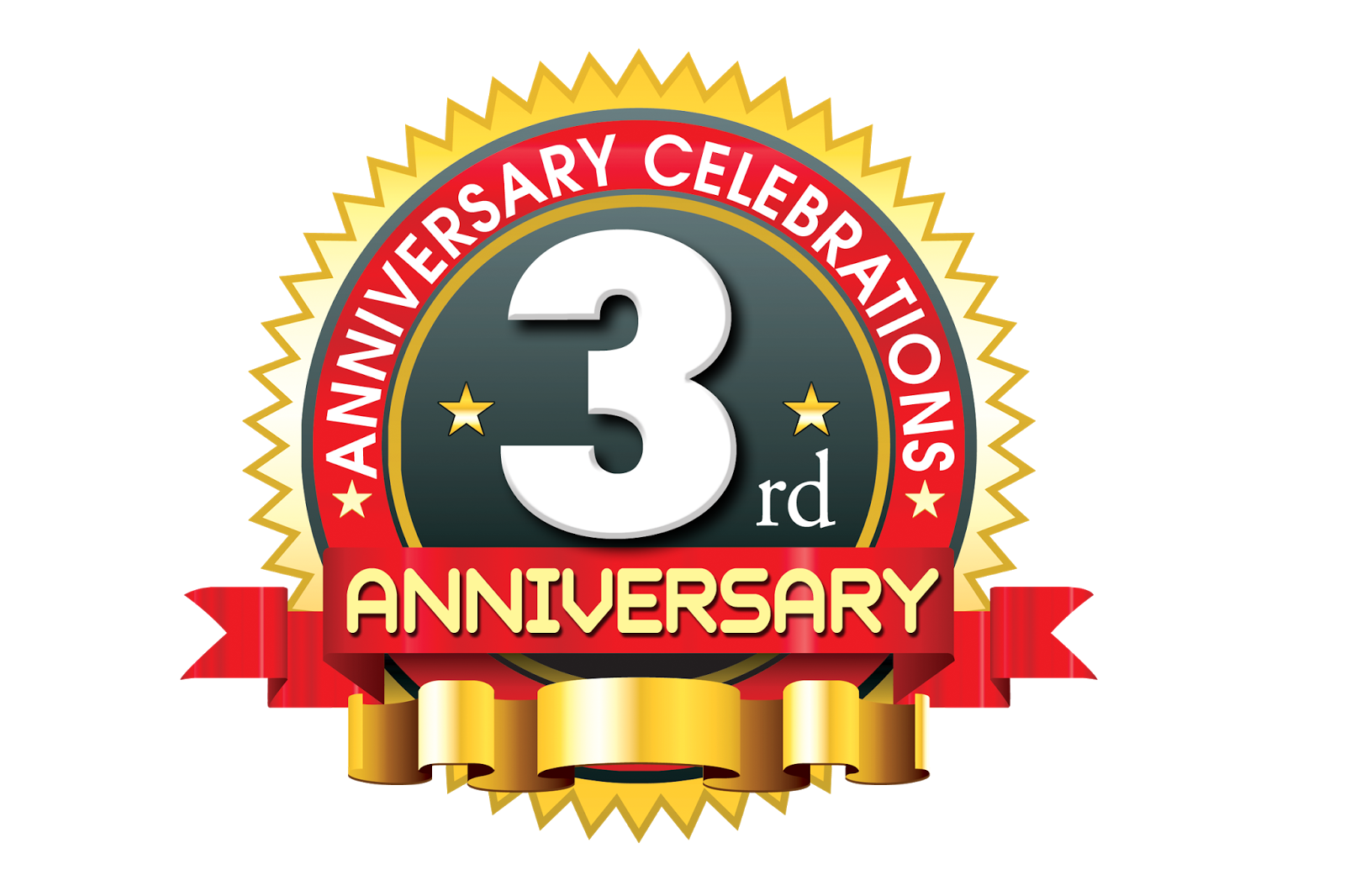 3rd anniversary logo template with red ribbon | psdfiles.in | psd templates | psd backgrounds