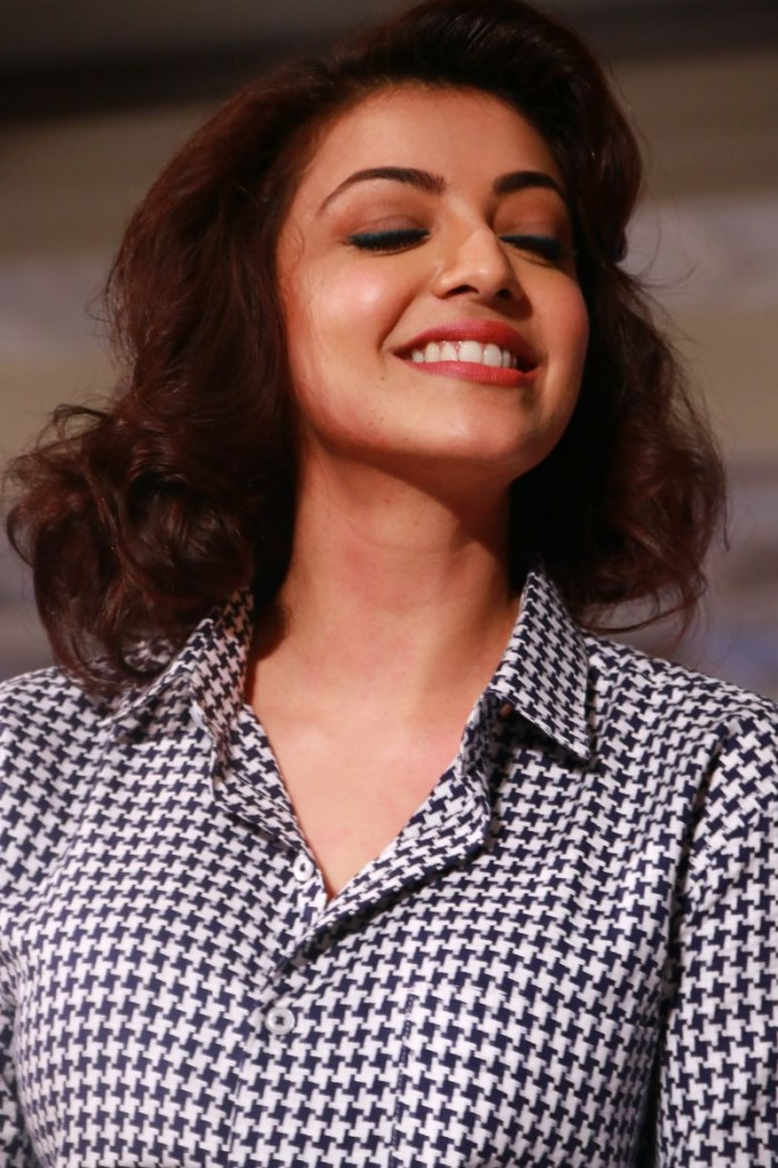Kajal Agarwal Stills In Blue Top At ITC Fashion Show
