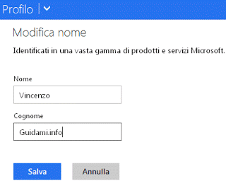 Account Microsoft Modifica nome