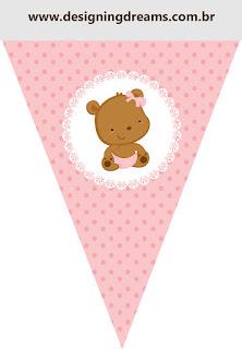 Banderines para Imprimir Gratis de Osita Bebé en Rosa con Lunares.