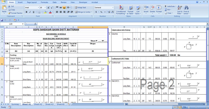 Download Bar bending schedule for Building Reinforcement Excel Sheet