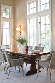 Cozy Beach Style Dining Room Tables For Small Spaces with some Grey Rattan Chairs around it