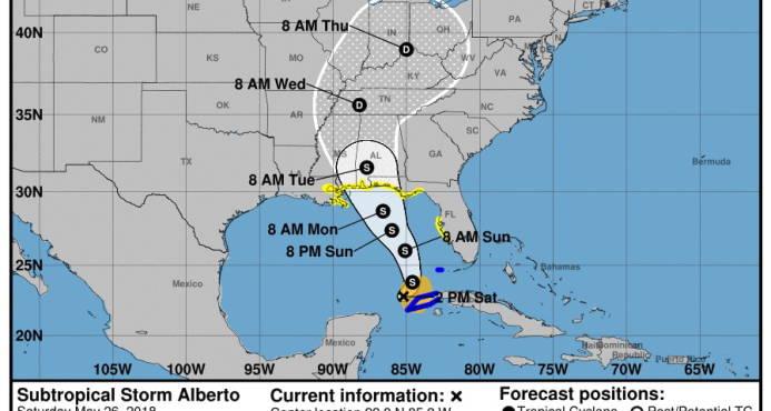 Depresión Alberto avanza por el centro de Alabama arrojando fuertes lluvia