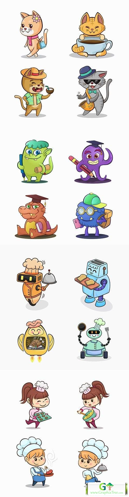 Funny cartoon characters drawn design illustrations