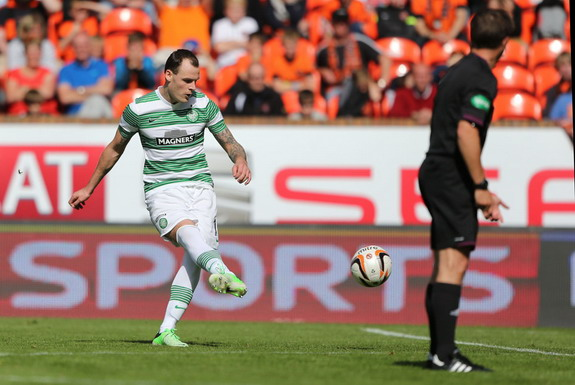Celtic forward Anthony Stokes scores the winner against Dundee United from a free-kick