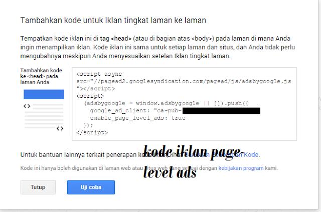 Caramenaruh iklan page-level ads adsense di blog