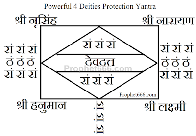 Powerful 4 Deities Occult Protection Yantra