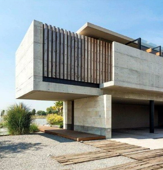 gambar rumah minimalis dinding beton alami
