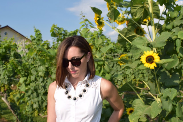 Blogger with Sunflowers