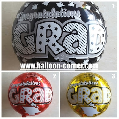 Balon Foil Bulat Seri CONGRATULATIONS GRAD