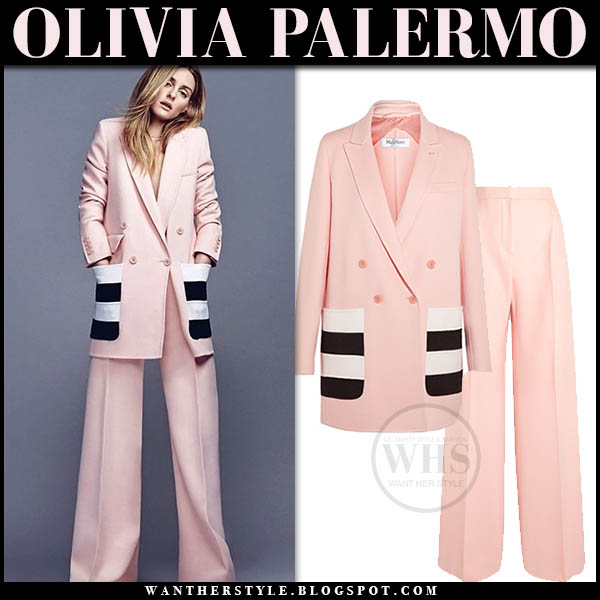 Olivia Palermo in pink blazer with stripe pockets and pink pants pantsuit celebrity style january 22