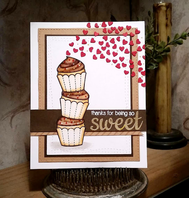 Sunny Studio Stamps: Sweet Shoppe Cupcake Card by Rebekah Weckerly