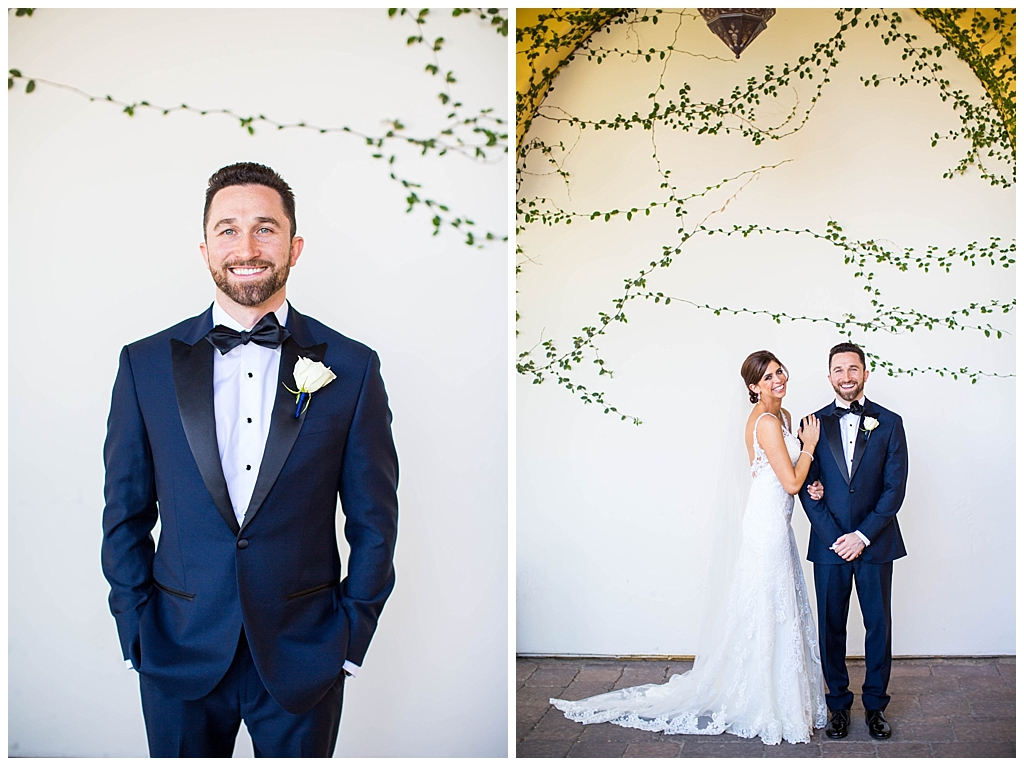 Bride & Groom in front of white green ivy wall at Montelucia