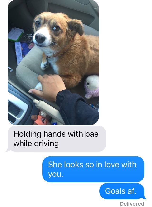 Holding hands with bae while driving.