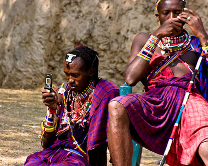 South African tribals using mobile phone