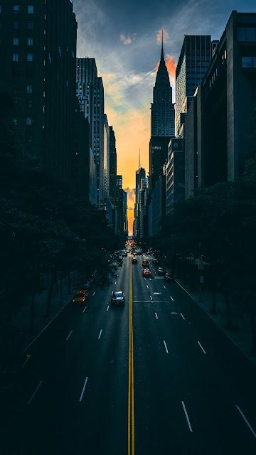 beautiful wallpaper city traffic cars sunset cityscape